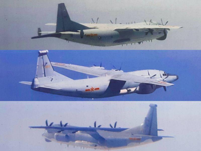 ▲運8反潛機(上)、運8遠干機(中)及運9通信對抗機(下)等慢速機闖入我西南空域。(圖/國防部提供)