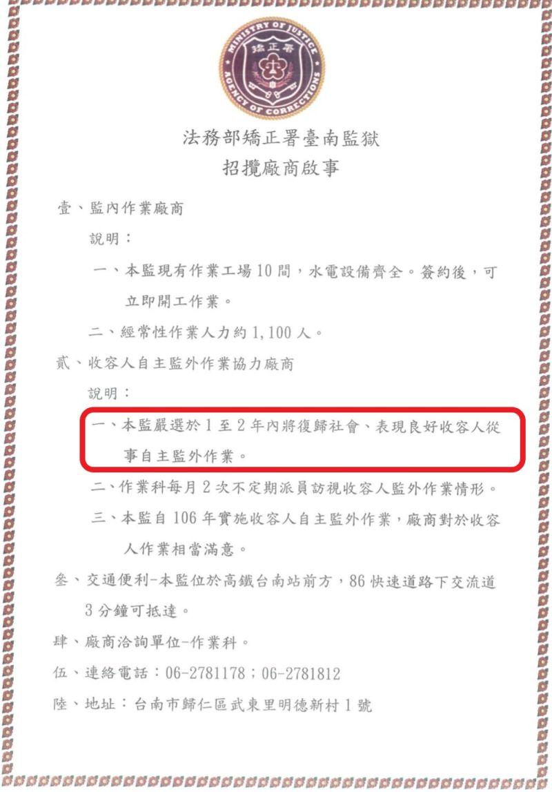▲台南監獄招攬廠商啟事。(圖/記者陳聖璋翻攝)