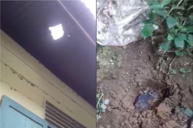 ▲黑石砸破胡塔加隆家中的屋頂。(圖/翻攝Josua