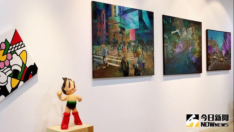 ▲ ART TAG藝術家吳政翰,油彩創作以獨特的筆觸,大膽用色,記錄大時代下真實環境與人們心緒狀態的載體。(圖/記者陳美嘉攝,2020.11.19)