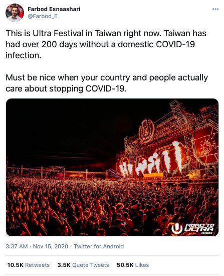 ▲外媒記者大讚台灣照常辦音樂節。圖/截自推特