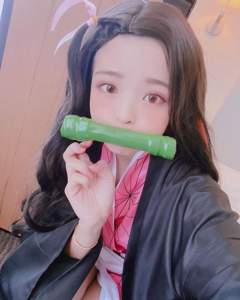 ▲米砂版本的「禰豆子」情慾流動。(圖/米砂IG)