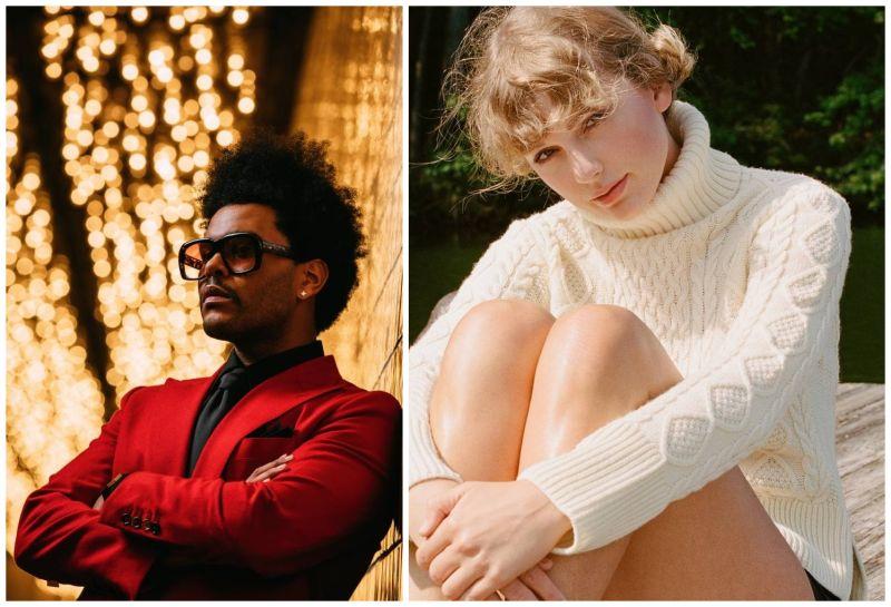 威肯(左圖)、泰勒絲並列本屆全美音樂獎大贏家。(圖/環球提供)