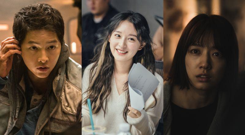 ▲宋仲基(左起)、金智媛、朴信惠新作品陸續上線。(圖/Netflix)