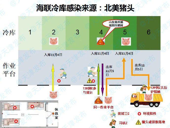 ▲天津市疫情防控小組指出,當地疫情的感染源為德國進口的豬腳以及北美進口豬頭。(圖/翻攝自天津市政府)
