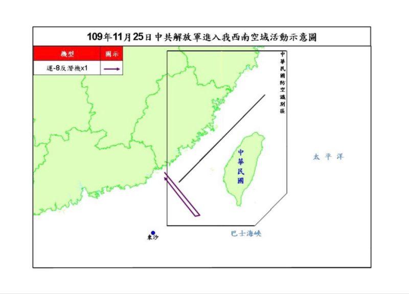 ▲國防部公布23日共機擾台路線示意圖。(圖/國防部提供)
