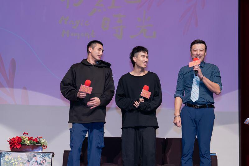 ▲章廣辰(左起)、陳彥允、林煒出席世新大學口碑場。(圖 / TVBS提供)