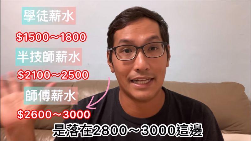 ▲Ray分享該行的薪資行情,更透露本人位於2600元至3000元。(圖/翻攝太陽底下的男人
