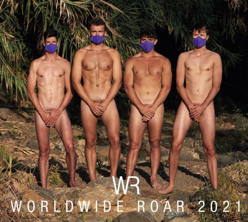 ▲今年月曆與往年最大的不同是運動員都戴上了紫色口罩
