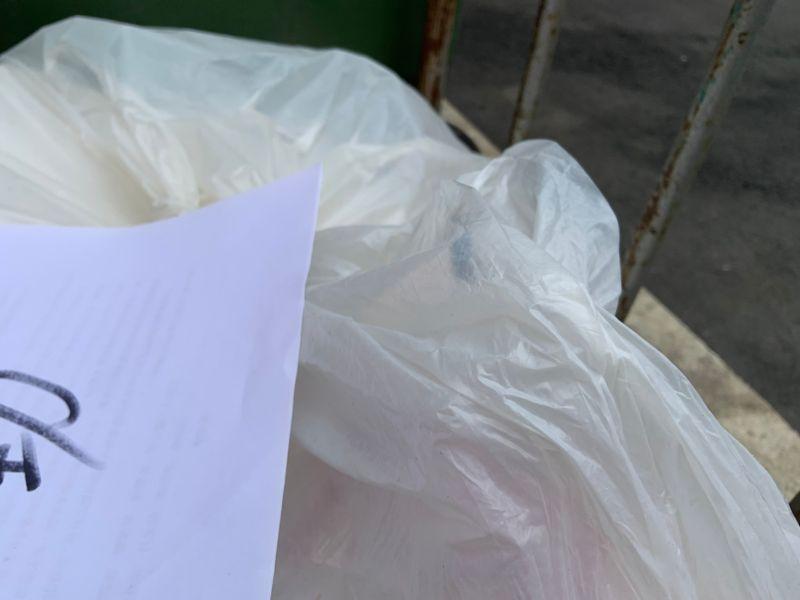 ▲塑膠袋包不住豬內臟的腥味,味道吸引了附近的食肉蜂類、蚊蟲,隔著袋子想飛進去。 (圖/記者吳承翰攝)