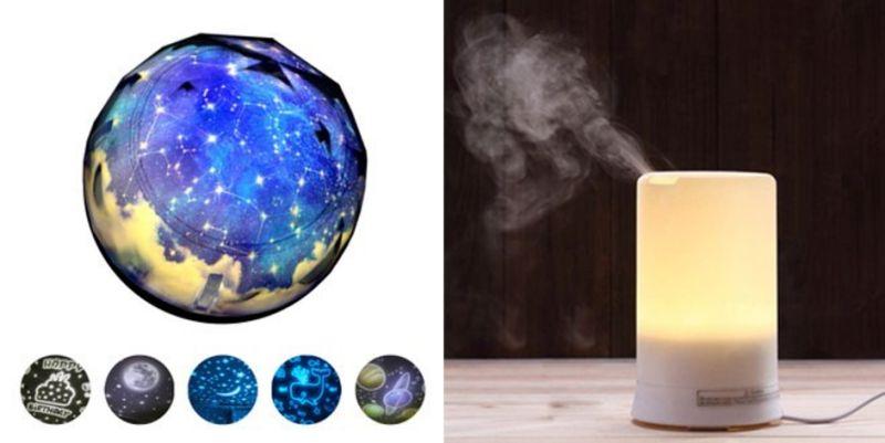 ▲浪漫星空燈(左)、無印風精油水氧機(右)(圖/品牌提供)
