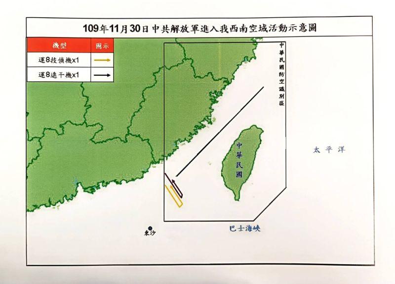 ▲國防部30日晚間公布共機擾台路線示意圖。(圖/國防部提供)