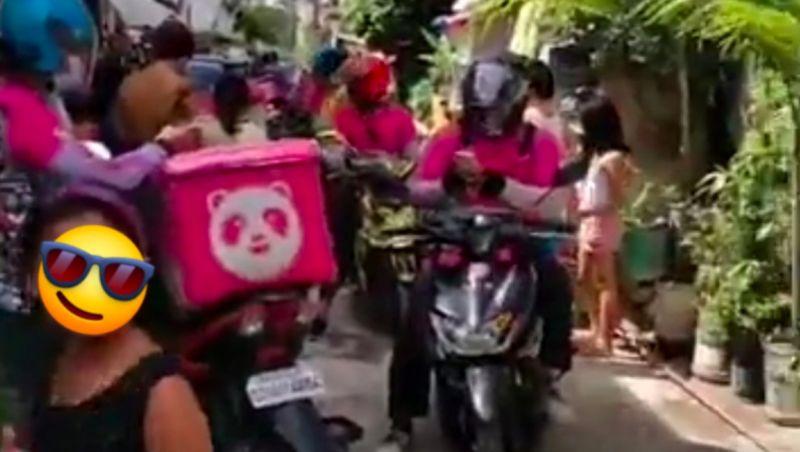 ▲一名七歲小女孩因誤點42份餐點,導致巷弄塞滿熊貓外送員。(圖/翻攝臉書)