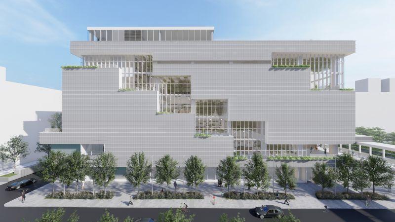 ▲位於台北大直的「NOKE忠泰樂生活」商場預計於2022年春天開幕。圖為NOKE忠泰樂生活建築效果圖。(圖/忠泰提供)