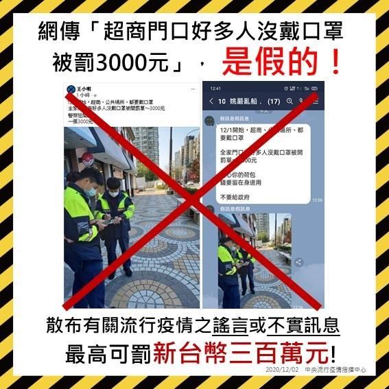 ▲網傳有警察在超商門口取締沒戴口罩的民眾,指揮中心表示是假消息。(圖/指揮中心提供)