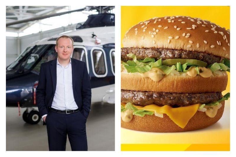 好想吃麥當勞!<b>土豪</b>搭直昇機「飛越360公里」:1個大麥克