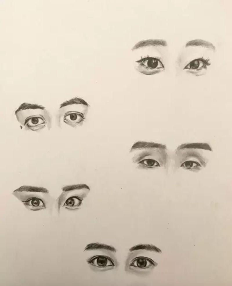 ▲女網友超會畫,將5位YouTuber的眼神畫得栩栩如生。(圖/翻攝自《Dcard》)