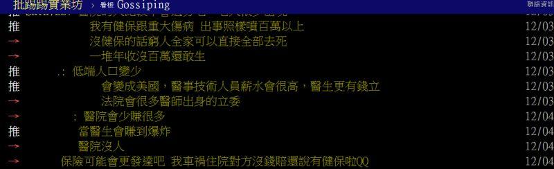 ▲若台灣沒有健保會變成怎樣?鄉民紛紛提出假設。(圖/翻攝PTT)