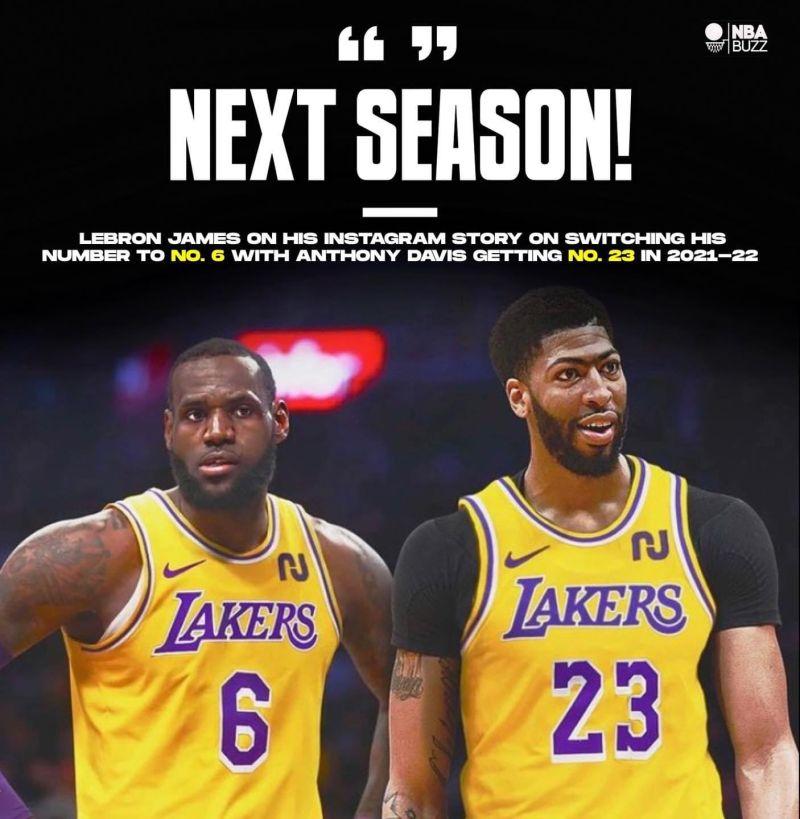 LeBron James承諾下一個賽季把「23號」交給Anthony Davis使用