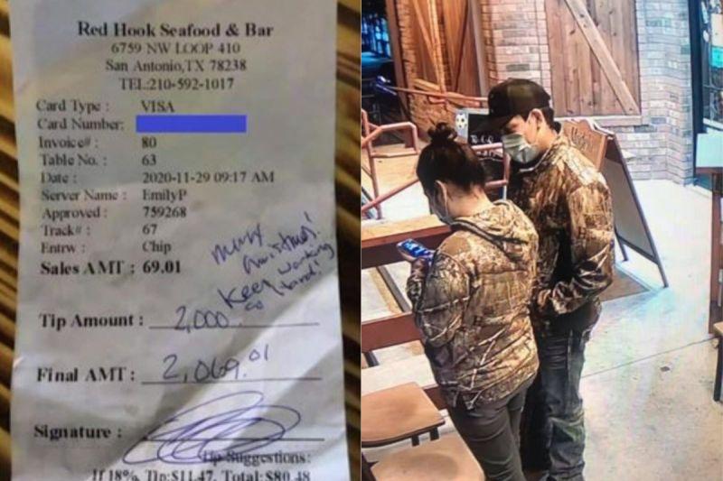 ▲美國一名女服務生日前收到一筆2千美元的小費,但餐廳最後只願給她5百美元。(圖/翻攝自《KHOU11》及《Redhookseafood》臉書 )