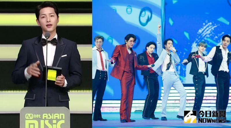 ▲宋仲基(左)頒大獎給BTS。(圖/翻攝Mnet、CJ ENM提供)