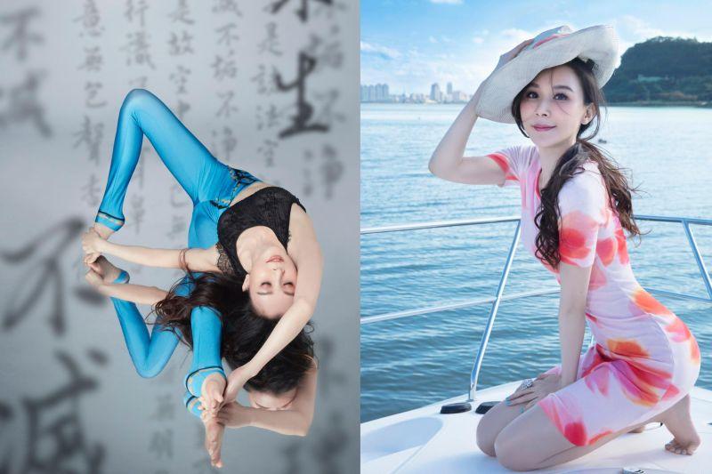 蕭薔化⾝解憂仙⼦秀瑜珈 「110公分⽟腿」一覽無遺