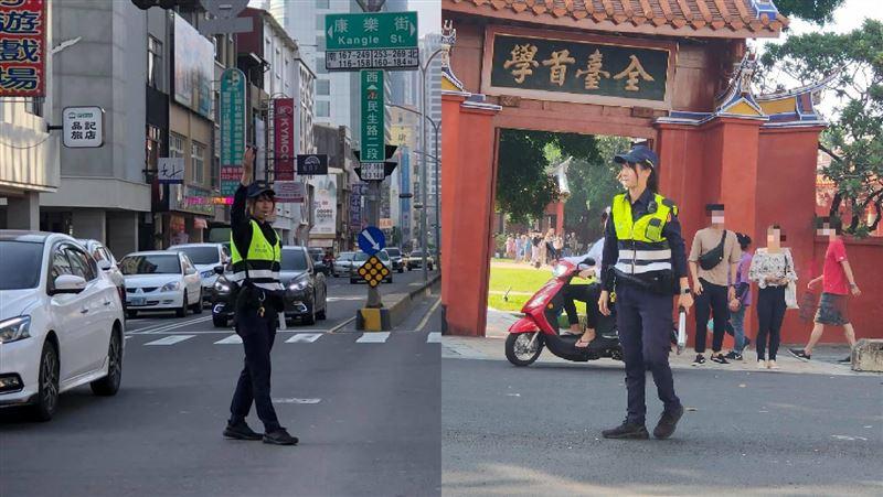 ▲有網友看到正妹女警指揮交通,心想「難怪這麼多人來台南」。(圖/翻攝自 台南爆料公社-台南最大社團 )