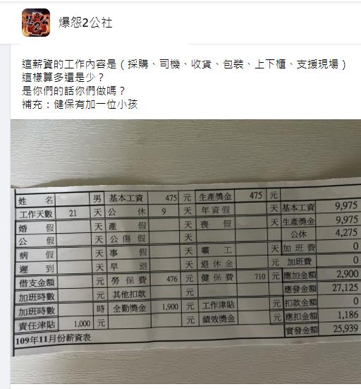 ▲男網友曬出薪資條,引發眾多網友譁然。(圖/翻攝爆怨2公社)