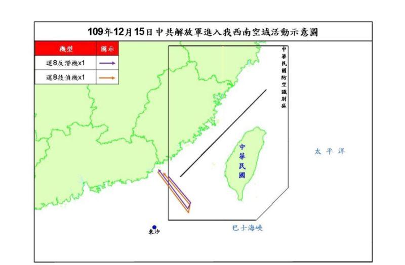 ▲國防部15日晚間發布共機擾台路線示意圖。(圖/國防部提供)