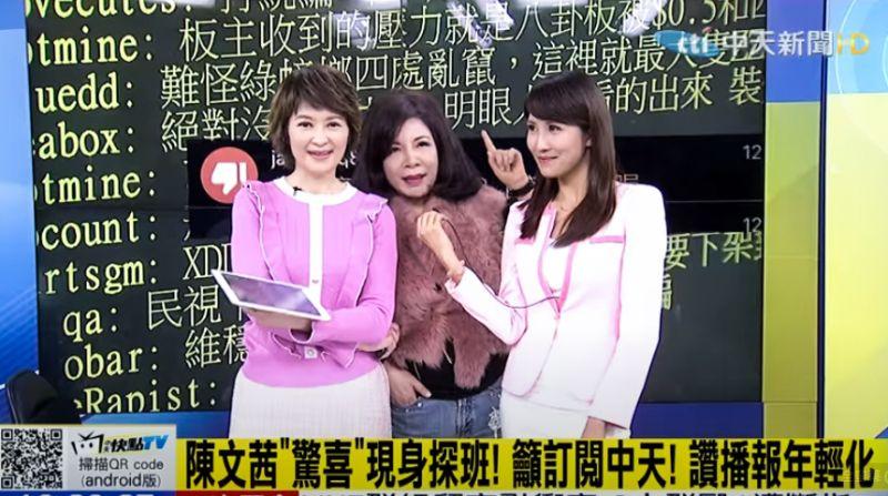 ▲陳文茜(中)探班主播盧秀芳(左)、劉盈秀(右)。(圖/中天新聞台)