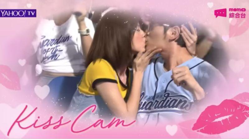 ▲宥勝跟林予晞在新戲《戒指流浪記》在新莊球場狂吻。(圖/富邦提供)