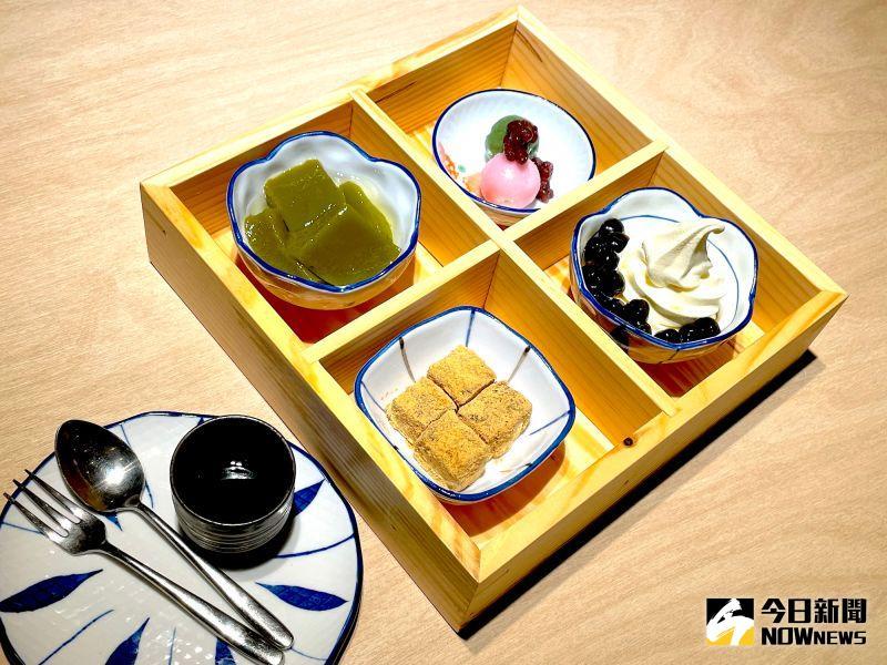 ▲京都勝牛還推出CP值超高的傳統日式下午茶甜點,預計吸引女性顧客,僅125元的超低價即可享用「日式四格甜點」。(圖/記者黃仁杰攝,2020.12.17)