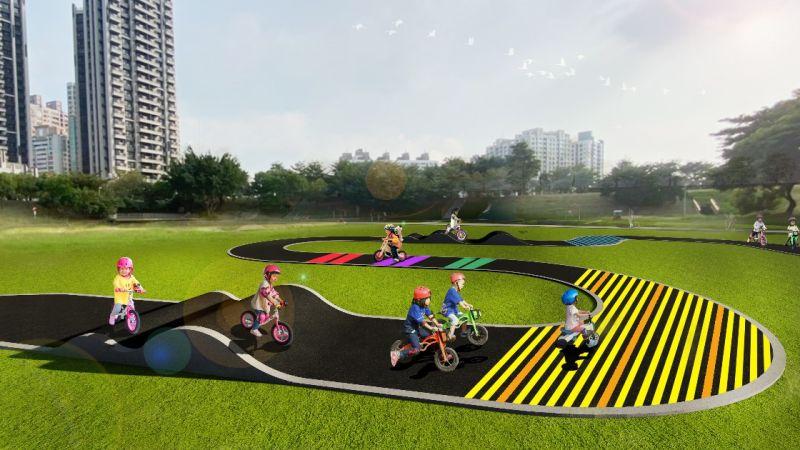 高市滯洪池多功能使用 滑步賽道讓孩子開心體驗
