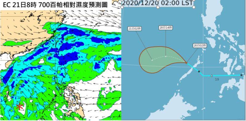 ▲吳德榮指出,今、明兩天受「東北季風」影響,桃園以北及東半部有局部雨,北台灣為濕冷的天氣。(圖/翻攝自《三立準氣象·