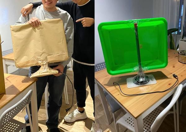 ▲原PO拆開包裝發現,裡面竟是「小型沾板、馬桶吸、綠色的塑膠盆,以及只有一半插頭」。(圖/翻攝自《爆廢公社二館》