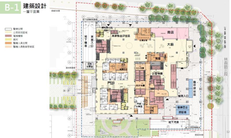 ▲老人醫院一樓平面圖。(圖/成大醫院提供)