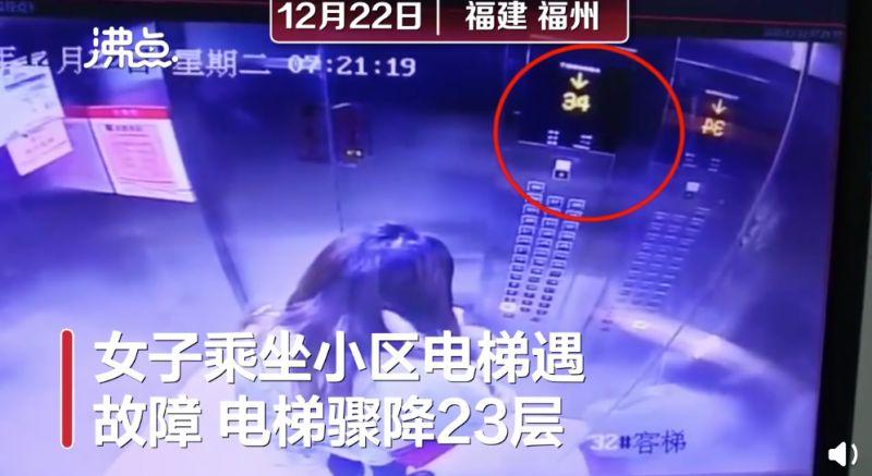 ▲中國一名女子日前搭乘電梯時,不幸遇上電梯故障。(圖/翻攝自《沸點視頻》)