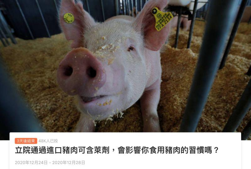 ▲萊豬確定在明年1月1日開放,Line發起民調詢問大家「會影響你食用豬肉的習慣嗎」,結果一面倒。(圖/翻攝自Line Today投票頁面)