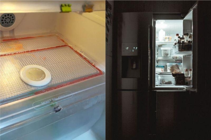 ▲有網友意外發現,冰箱裡竟然出現「紅色粉末晶體」。(示意圖/翻攝自《爆系知識家》及《unsplash》 )