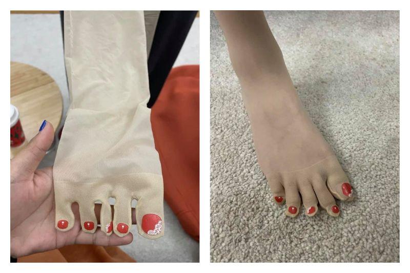 ▲女網友分享特殊懶人襪子,笑稱「不怕預約不到美甲師」,讓大家全看傻。(圖/翻攝自《爆廢公社二館》臉書社團)