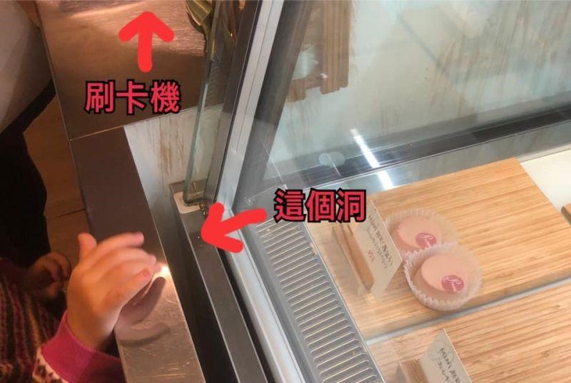 ▲網友分享自己去甜點店消費時,遇到信用卡掉落冰櫃縫隙的問題,沒想到店員竟然表示只要掉進去就拿不出來。(圖/爆怨公社)