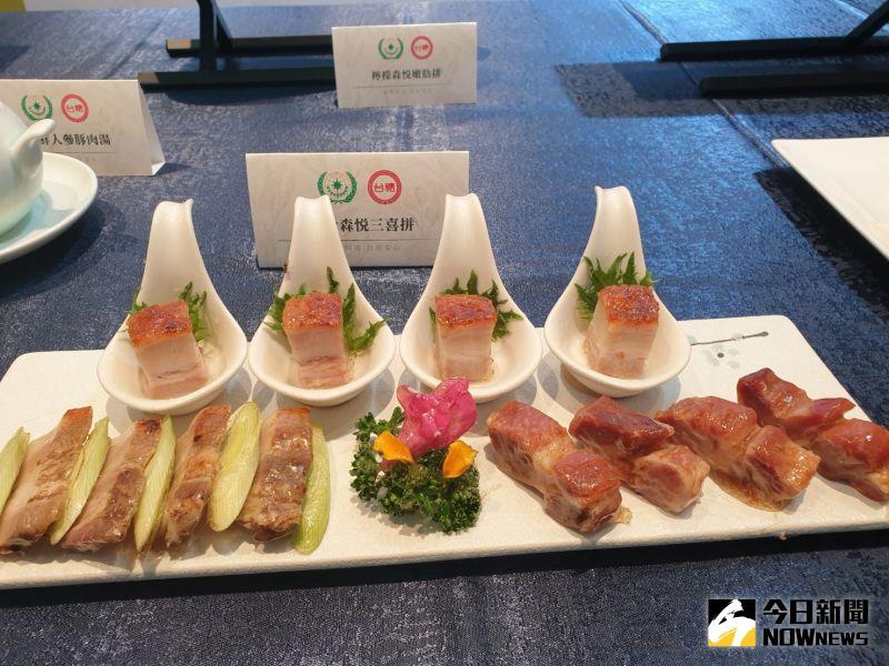 ▲台中長榮桂冠酒店為了讓消費者吃得美味又安心,引用台糖頂級國產「森悅豬」入菜。
