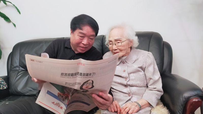 ▲新竹百歲人瑞李佳音,平時與兒子同住,享受天倫之樂。(圖/記者鄭志宏攝)