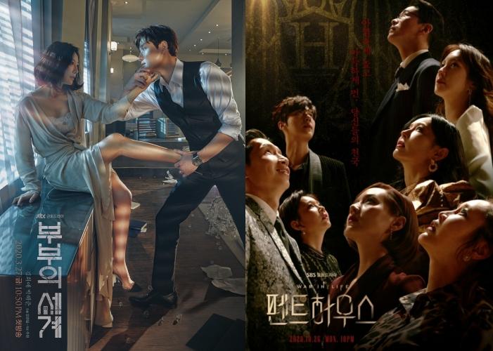 ▲《夫婦的世界》(左)跟《上流戰爭》的劇情跌破觀眾三觀。(圖/SBS、JTBC)