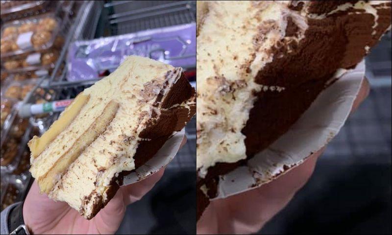 ▲網友分享自己去好市多拿試吃時,整塊蛋糕淹沒盤子。(圖/好市多商品經驗老實說)