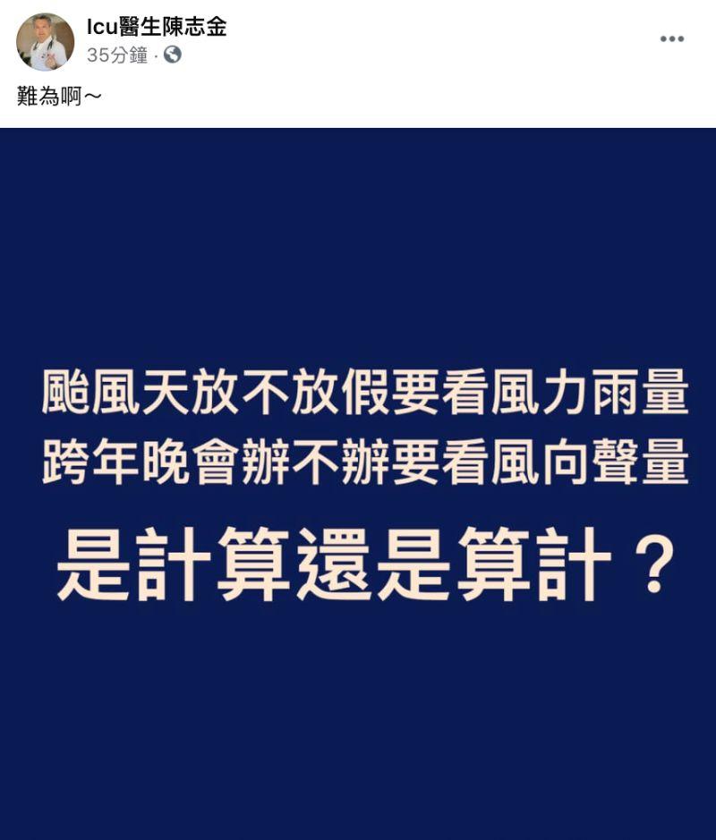 ▲Icu醫生陳志金也在臉書粉專發文。(圖/翻攝自Icu醫生陳志金