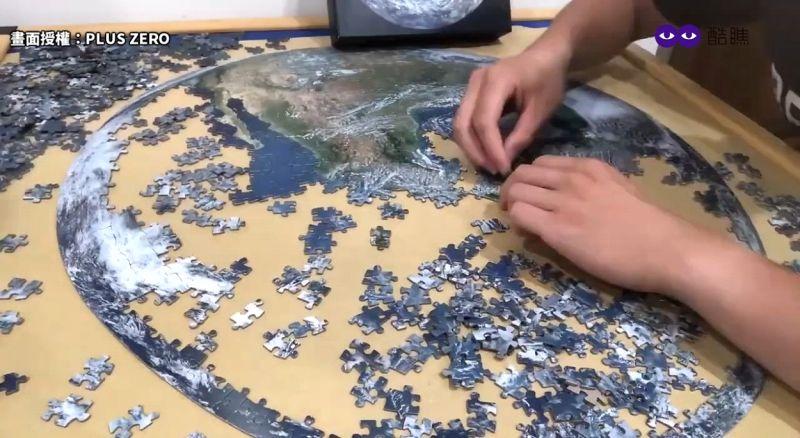 ▲ 1000片地球拼圖呈現精緻細節的西半球和太平洋。(圖/PLUS ZERO  授權)