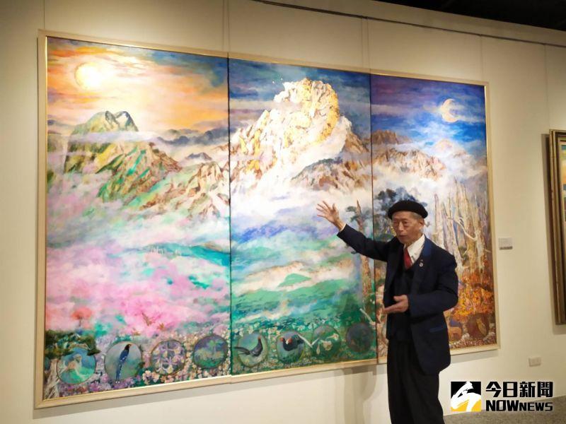 ▲醫師畫家趙宗冠以巨幅作品「頌讚寶島」。(圖/記者葉靜美攝)