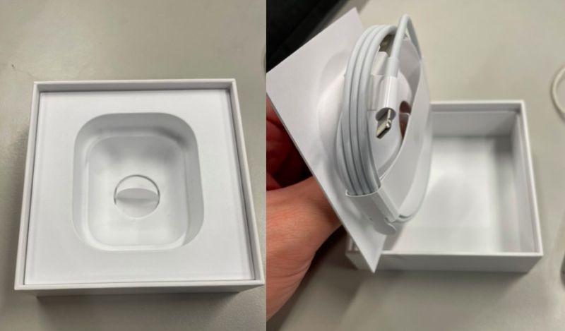 ▲而記者也實際拿出自己的AirPods盒子,打開底部真的有一條蘋果原廠線,買兩個月從未發現。(圖/記者張嘉哲攝)