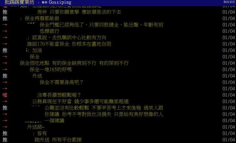 ▲眾多網友看完原PO的條件後,紛紛建議去當保全與外送員。(圖/翻攝ptt)